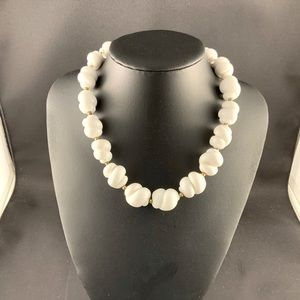 Vintage white glass bead necklace gold bead spacer